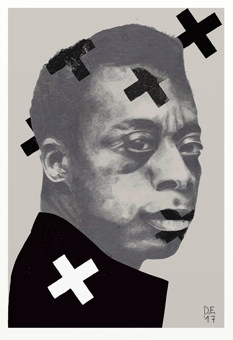 "Diana Ejaita, ""Baldwin's speech"", 2017. Pencil, silkscreen and digital. 26 x32cm. Image copyright and courtesy of the Artist."