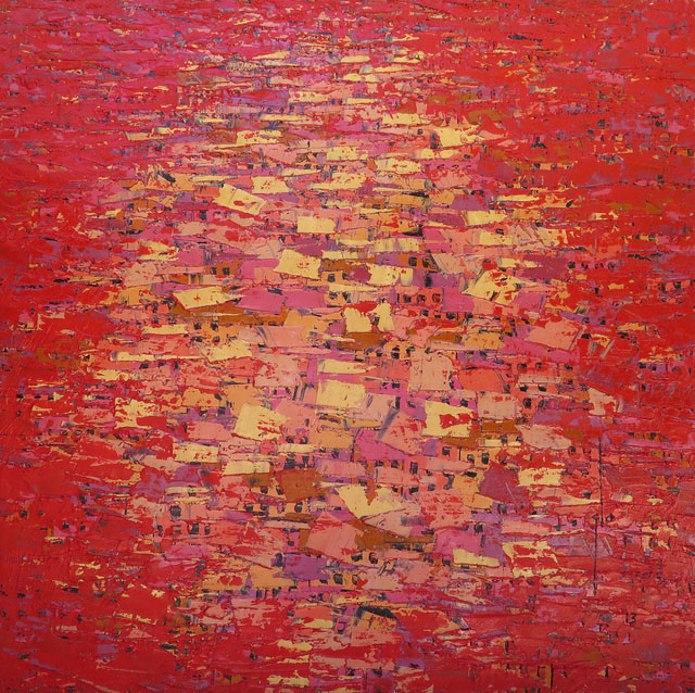 """Professor Ablade Glover, """"Red townscape"""", 2013. Oil on canvas, 120 × 120 cm."""
