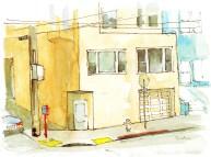 """Brian Bailey, The Orange Corner on Cole, Watercolor, 5"""" x 7"""" © 2016"""