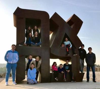 Families of Houston's Beth Yeshurun synagogue at the the Israel museum this week