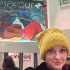 Me with an excerpt from Río Juchitán on the exhibit banner