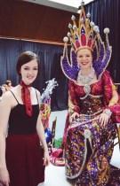Eliza with childhood friend Samantha Fischer's daughter depicting La Sagrada Familia at the 2016 Texas Rose Festival