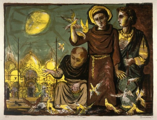 St. Francis--The Piazza (in Venice), Benton Spruance ca 1953