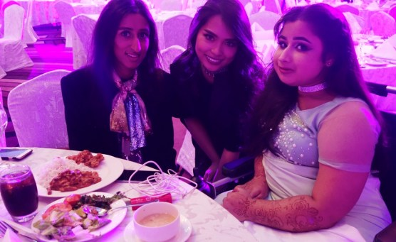 Blogger Les Rebelles Squad's Pooja, me, and comedian/wheelchair model influencer Nawaal Akram