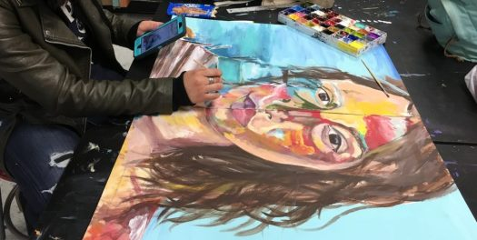 Student working on portrait