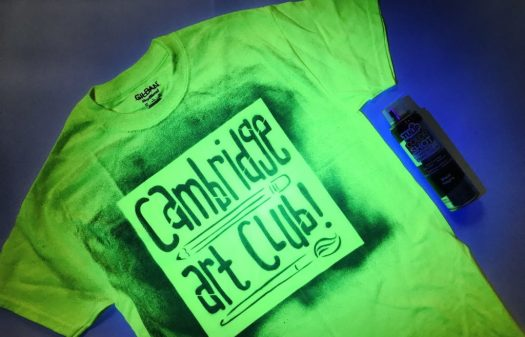 Art Club T-Shirt made with blacklight