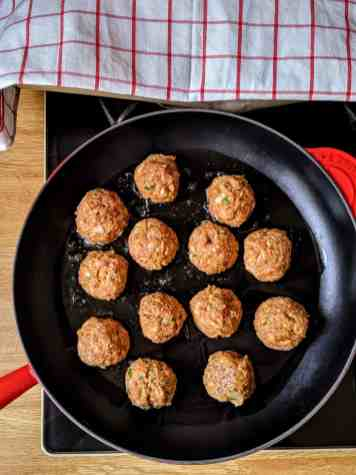 frying italian style meatballs