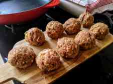 Italian style meatballs ready to be cooked