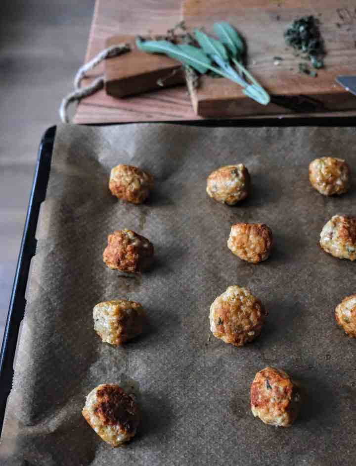 chicken and sage meatballs cooked