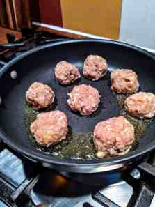 frying chicken meatballs