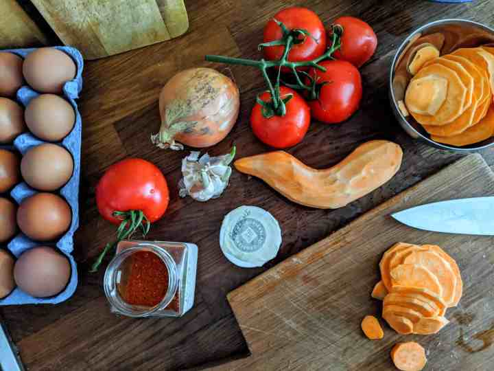 ingredients for sweet potato shakshuka