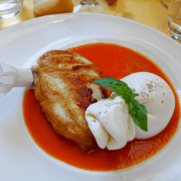 Chicken with burrata in MIlan.