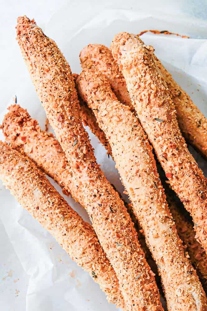 These extra crunchy breadsticks are coated with seasoned breadcrumbs. The crispy coating makes them perfect with hummus or on a charcuterie board.