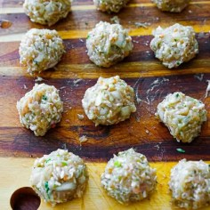 The rice meatballs after shaping.