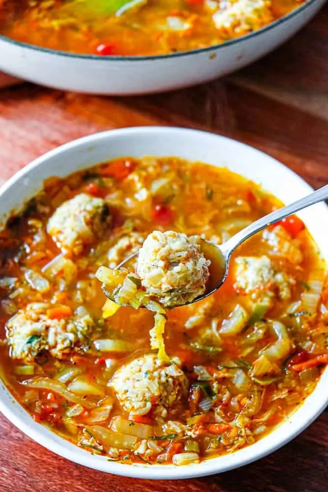 Cabbage roll soup with rice meatballs is all of the flavour of traditional cabbage rolls without the effort of rolling!