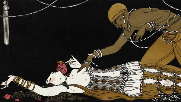 1913-ida-rubinstein-as-zobeide-and-vaslav-nijinsky-as-the-golden-slave-in-schc3a9hc3a9razade-by-george-barbier-1