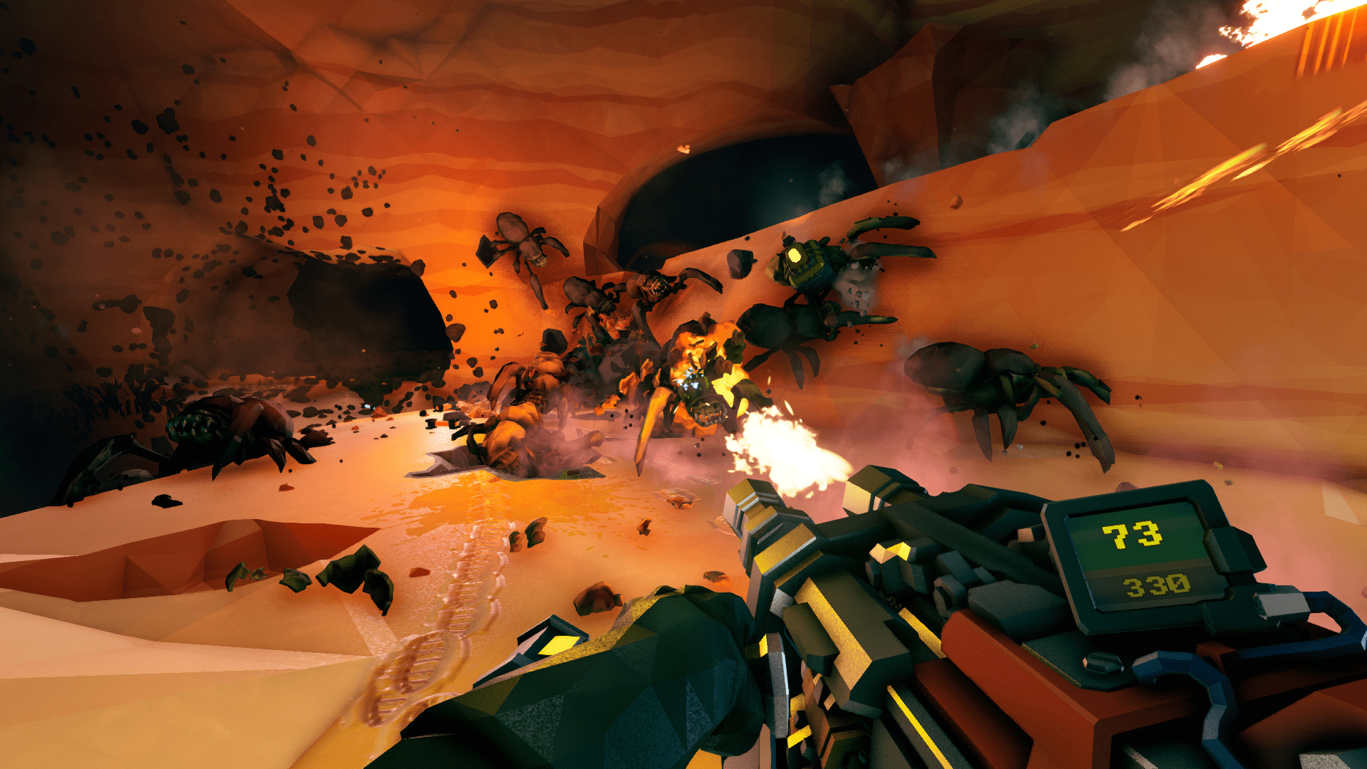 Official Deep Rock Galactic Screenshot, A swarm of Glyphids approaches
