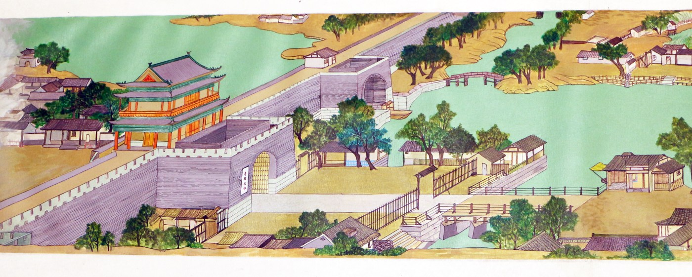 Chuang Tsung-Hsun, 清明上河園區,今日公休, 2016-2017, acrylic on canvas, 47.5 x 525 cm - 局部1