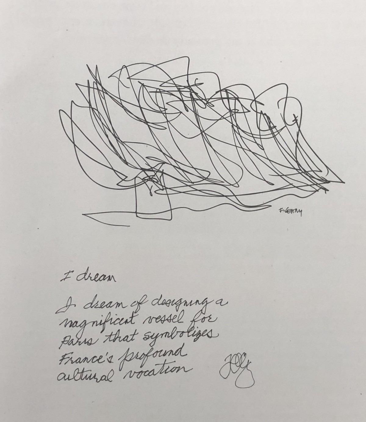 Frank Gehry以素描勾畫Foundation Louis Vuitton的初稿(網上圖片)