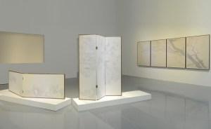 高茜(1973年生) 山有枝之一、二、三 2018年 紙本設色 高. 171 x 寬. 46 公分 x 3(三聯屏、正反面) 高. 65 x寬. 125公分x2(雙聯屏、正反面) 高. 145 x寬. 90公分x 4(四聯屏) 艾米李畫廊,北京