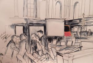 Courtroom illustration from a 2016 case against Knoedler Gallery. Illustration by Elizabeth Williams. Courtesy of Elizabeth Williams Studio.