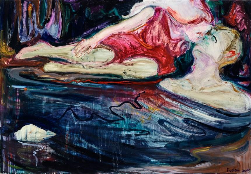 《吻》 This Kiss 2019 油彩、畫布 oil on canvas 70 x 101 cm Courtesy of the artist and 安卓藝術 Mind Set Art Center