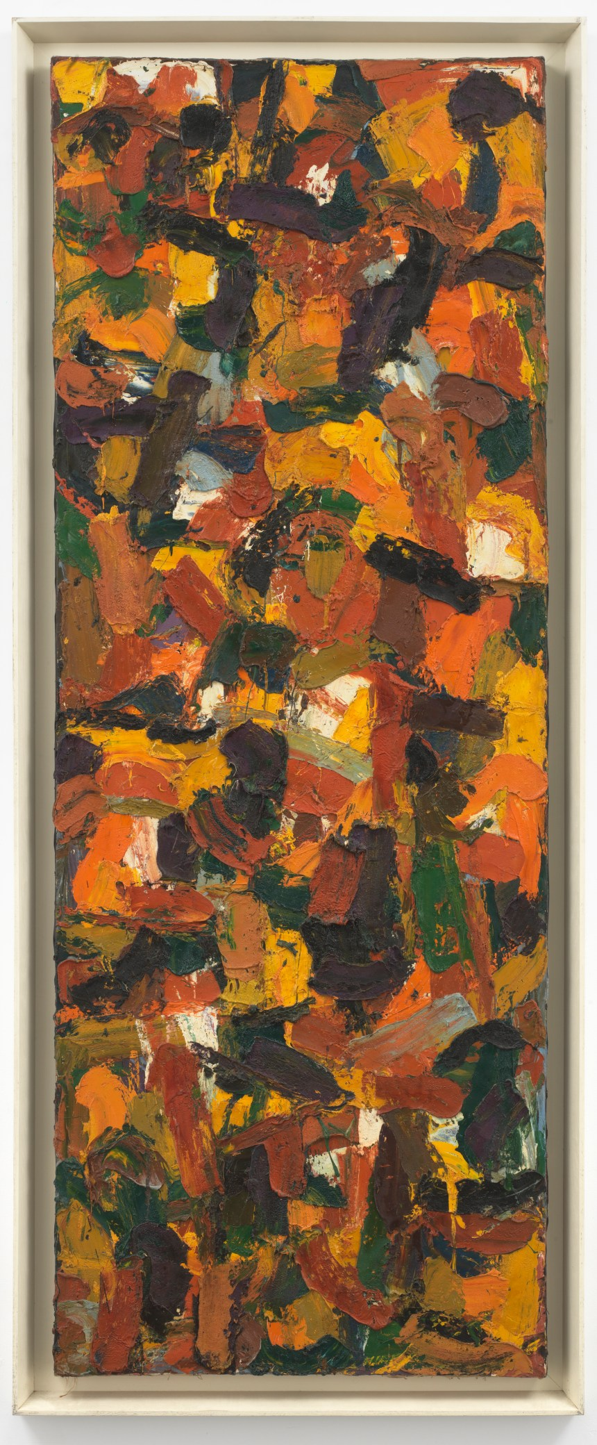 AI Held Untitled 1955  Oil on canvas  96 7/8 x 36 in. (246 x 91.5 cm)  101 7/8 x 41 15/16 x 1 15/16 in. (258.7 x 106.5 x 5 cm) (framed)  the artist. Photo Christopher Burke, New York Courtesy White Cube and AI Held Foundation, Inc.