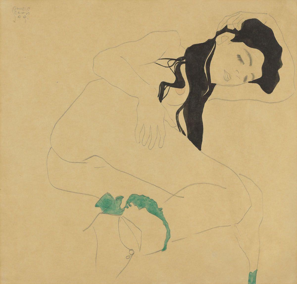 Egon Schiele, Liegender Mädchenakt, 1909. Est. £200,000–300,000, sold for £1,271,250. Courtesy Christie's Images Ltd. 2019.