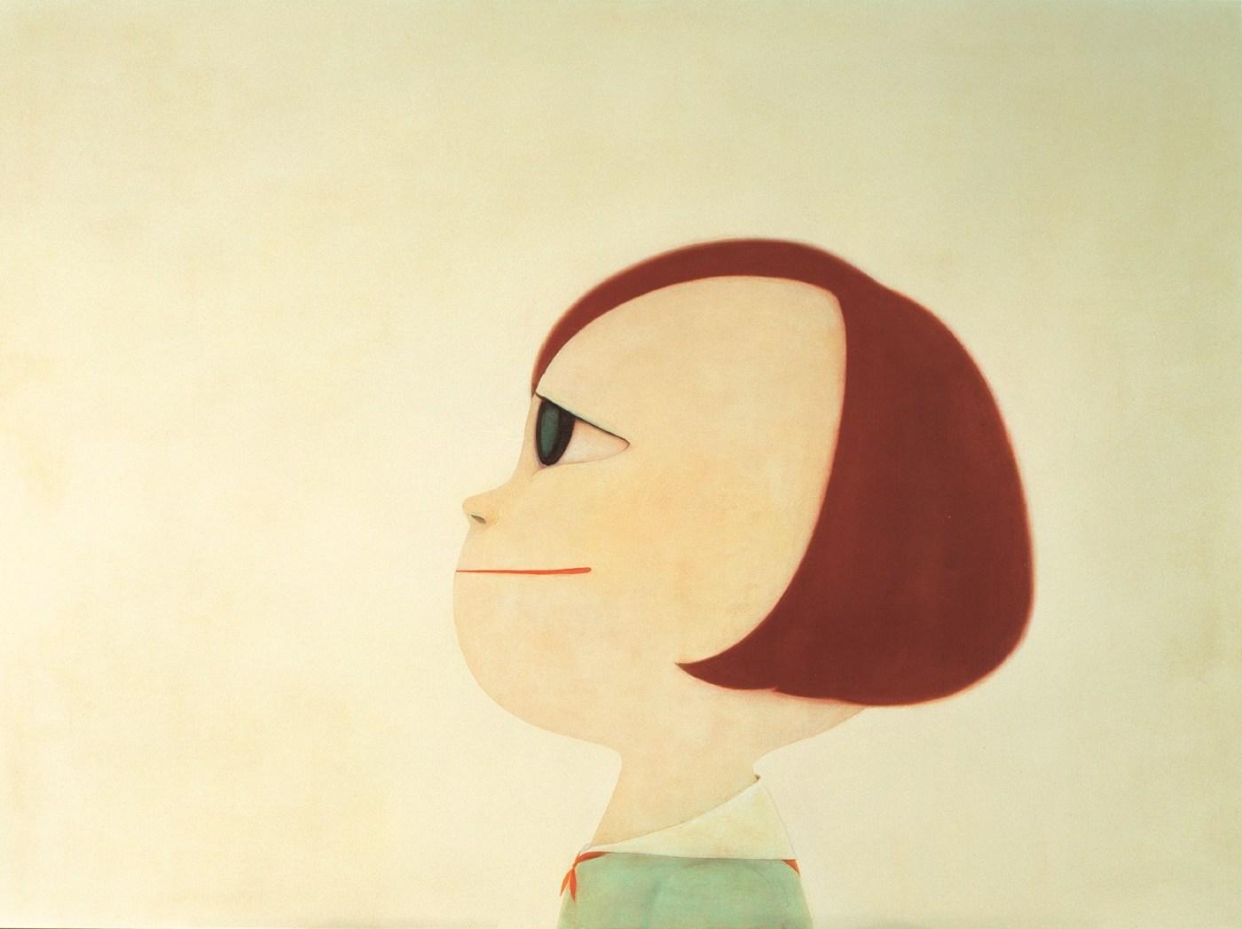奈良美智《振作》,2001年作,壓克力畫布,194 x 259.3公分 Yoshitomo Nara, Keep Your Chin Up, 2001, acrylic on canvas, 194 by 259.3cm