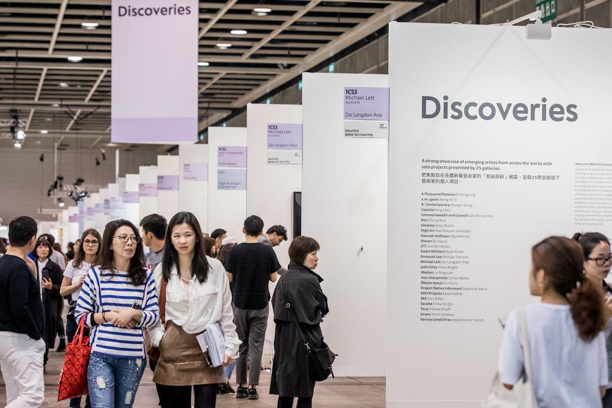 Visitors to the Discoveries section of Art Basel in Hong Kong in 2018. Photo © Art Basel.