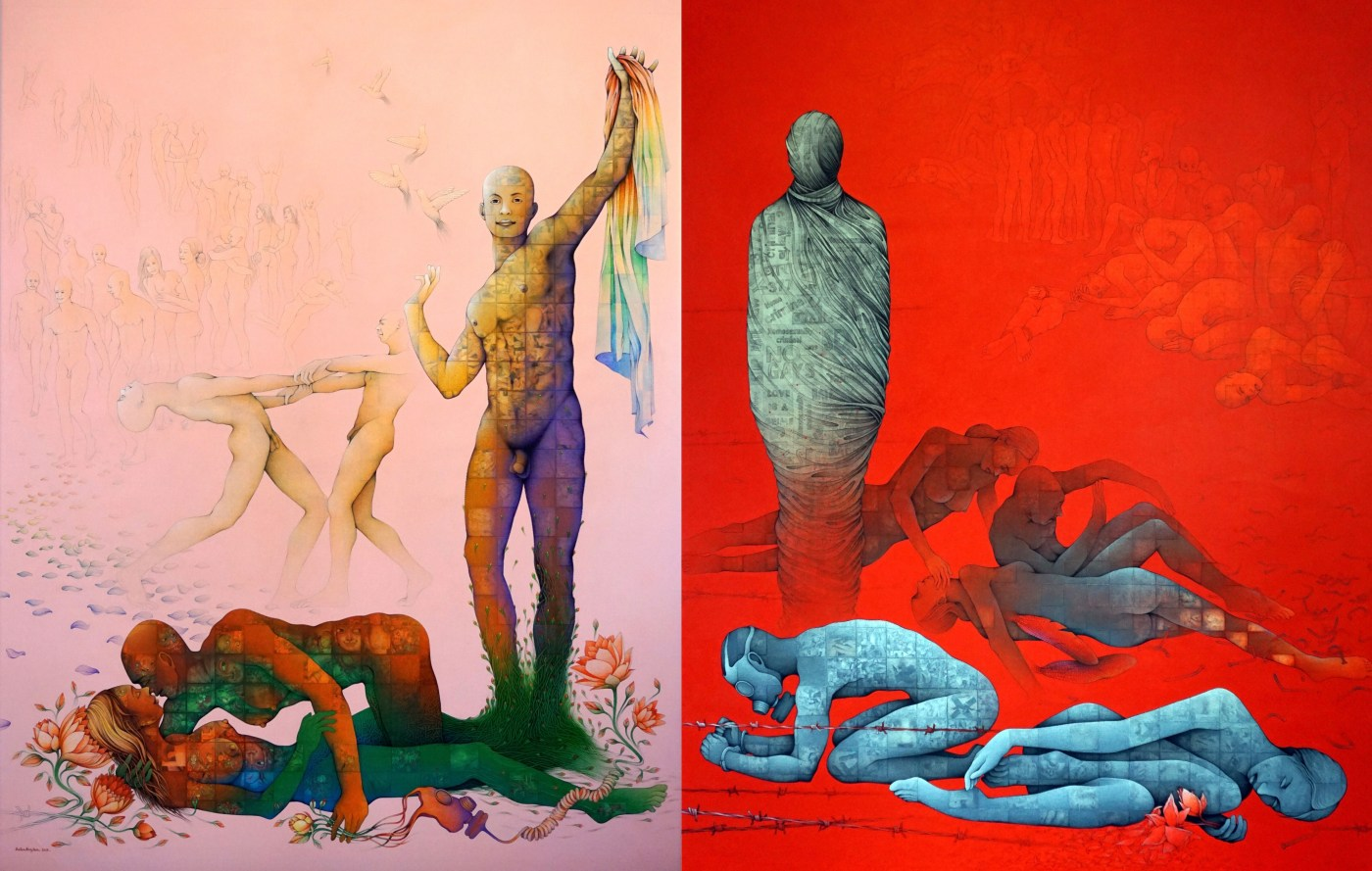 Newly-commissioned works by Balbir Krishan. [Right] Before: Section 377 – Don't Love, Don't Breathe, Don't Live, 2019, Collection of Sunpride Foundation. [Left] After: Section 377 – Love Equally, Love Freely, Love Proudly, 2019, Collection of Sunpride Foundation. Images courtesy of Sunpride Foundation.