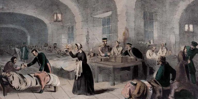 南丁格爾在斯庫塔里軍事醫院,1855年,圖片來源: