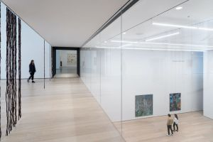 Installation view of Daylit gallery 212 overlooking Projects Gallery at the Museum of Modern Art. Photography by Iwan Baan, Courtesy of MoMA.