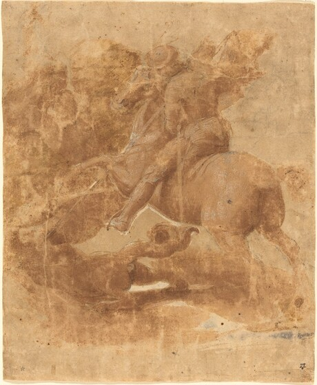 Raphael, Saint George and the Dragon, c. 1506, brush and brown ink heightened with white over black chalk, incised with stylus, Ailsa Mellon Bruce Fund, 1982.42.1