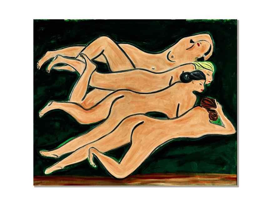常玉《綠色背景四裸女》 1950 年代作,油彩纖維板, 100 x 122 公分 估價待詢, Courtesy of Sotheby's