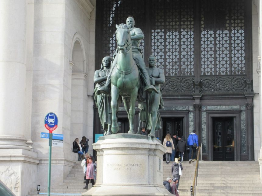Statue of Theodore Roosevelt outside the American Museum of Natural History. Image via Flickr.
