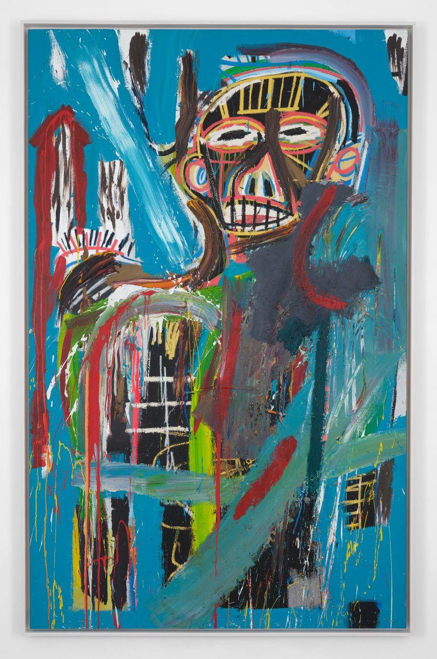 讓·米歇爾·巴斯奎特。《無題》,1982年作。 壓克力 畫布,240.7 x 152.4 釐米 (94 ¾ x 60 英吋)。 © 讓·米歇爾·巴斯奎特基金會 Jean-Michel Basquiat. Untitled, 1982. Acrylic on canvas, 94 ¾ x 60 inches (240.7 x 152.4 cm). © The Estate of Jean-Michel Basquiat