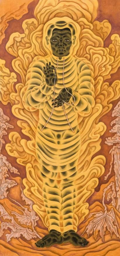 大風吹 Foehn 206x96cm 紙本設色、墨、礦物顏料 2020, 圖/藝術家提供