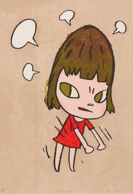 Yoshitomo Nara_Pissed Off! 奈良美智 《惹惱了》,2010 年作 彩色浮世繪木刻版畫 紙本,42 x 29.5 公分 估價:18 萬 – 28 萬港元, Courtesy of the artist and 富藝斯Phillips