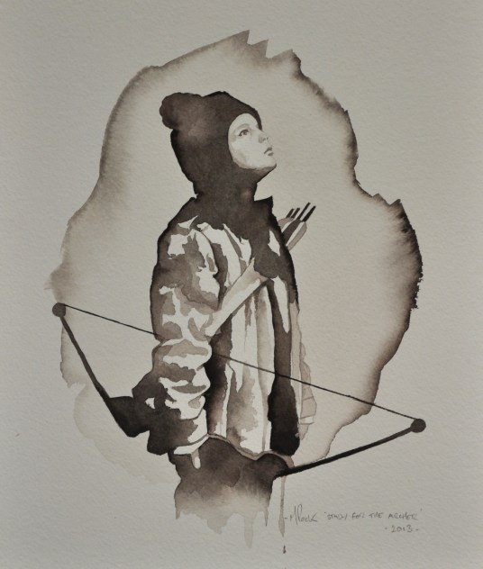 Michael Peck_'Study For The Archer'_2013_Ink on Paper