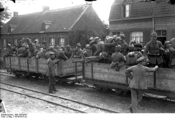 German troops loading for transport to the front about 1915.