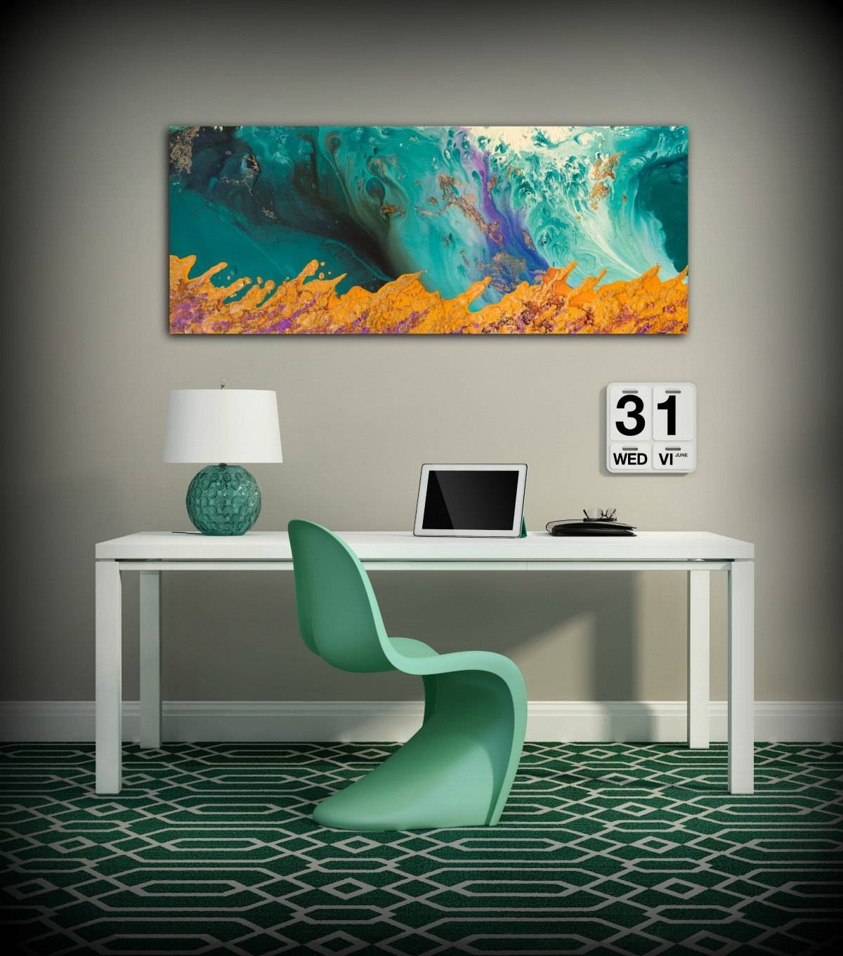 20 Collection of Orange And Turquoise Wall Art
