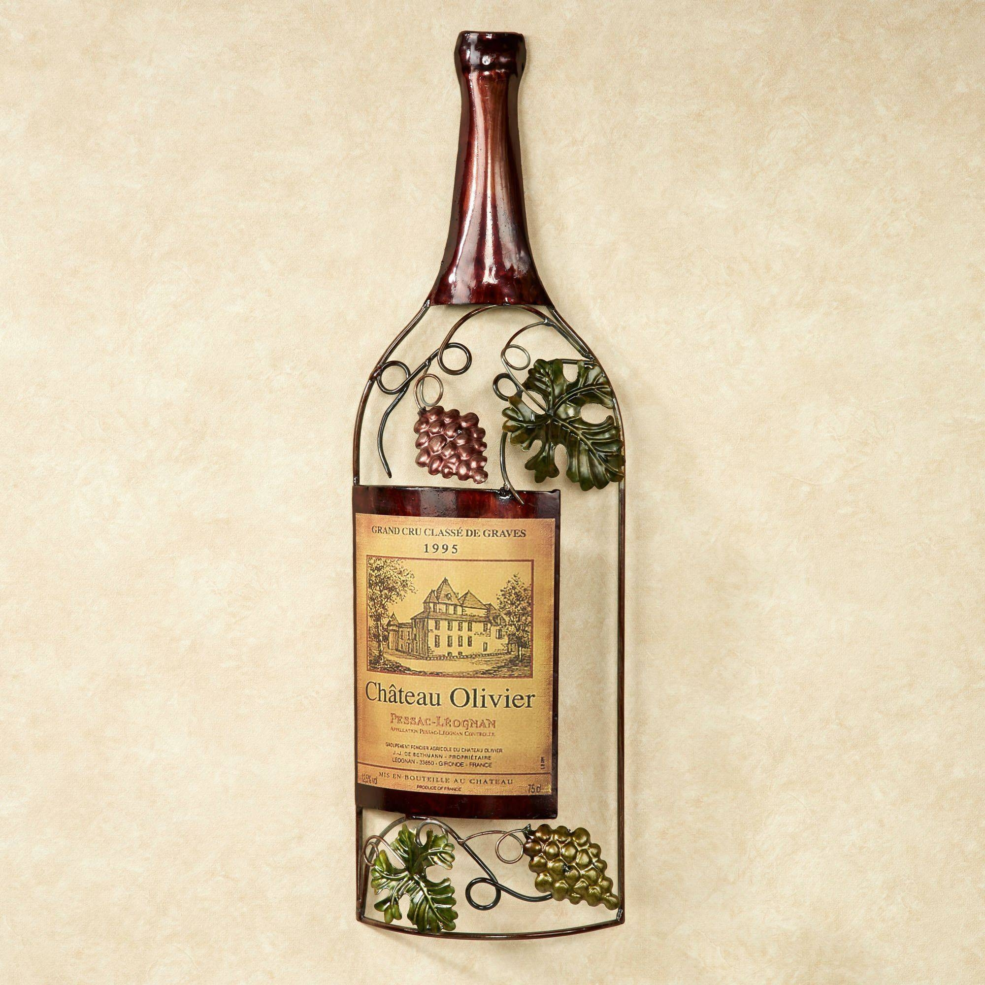 top of wine bottle metal wall art