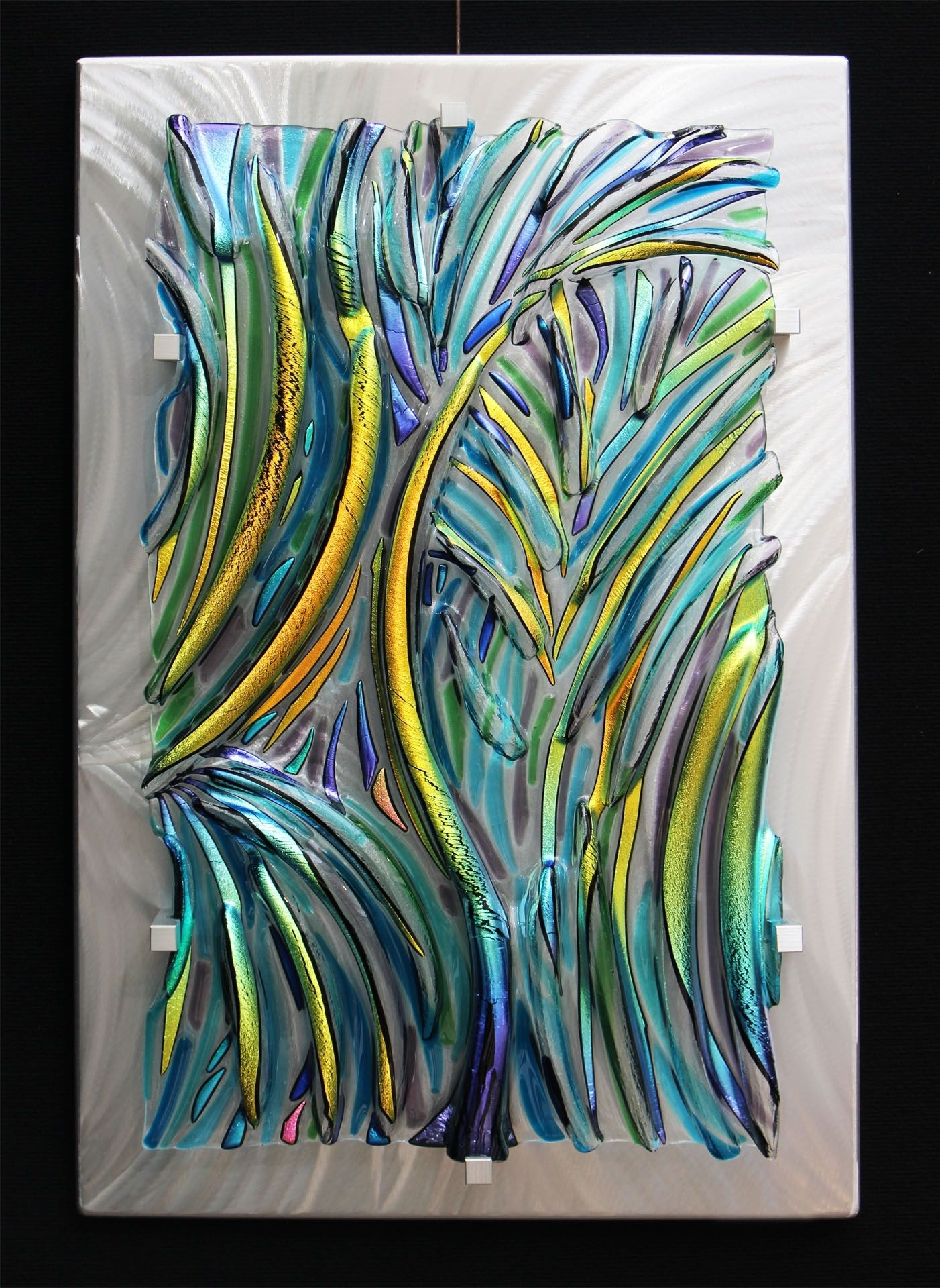 abstract fused glass art