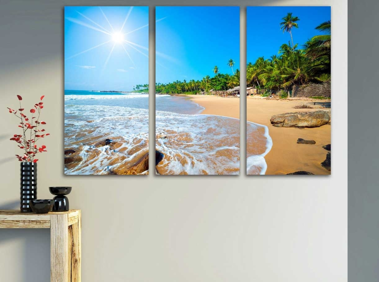 showing gallery of canvas wall art beach scenes view of photos