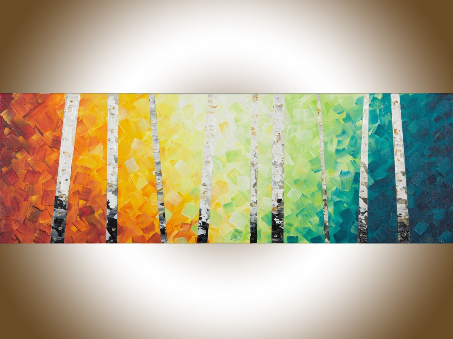Rainbow Love Bird Landscape Abstract Bird Painting Triptych Nursery ...