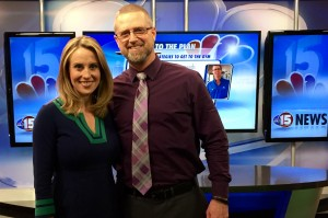John & Leigh on the set at NBC15 Madison. February 2015.