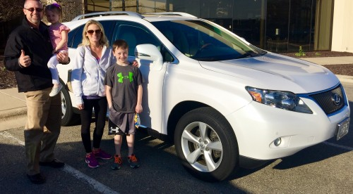 John (left) With Shannon and family. They were lucky to secure the White/parchment Rx 350 you see pictured here. This pre-owned color combination is rare!