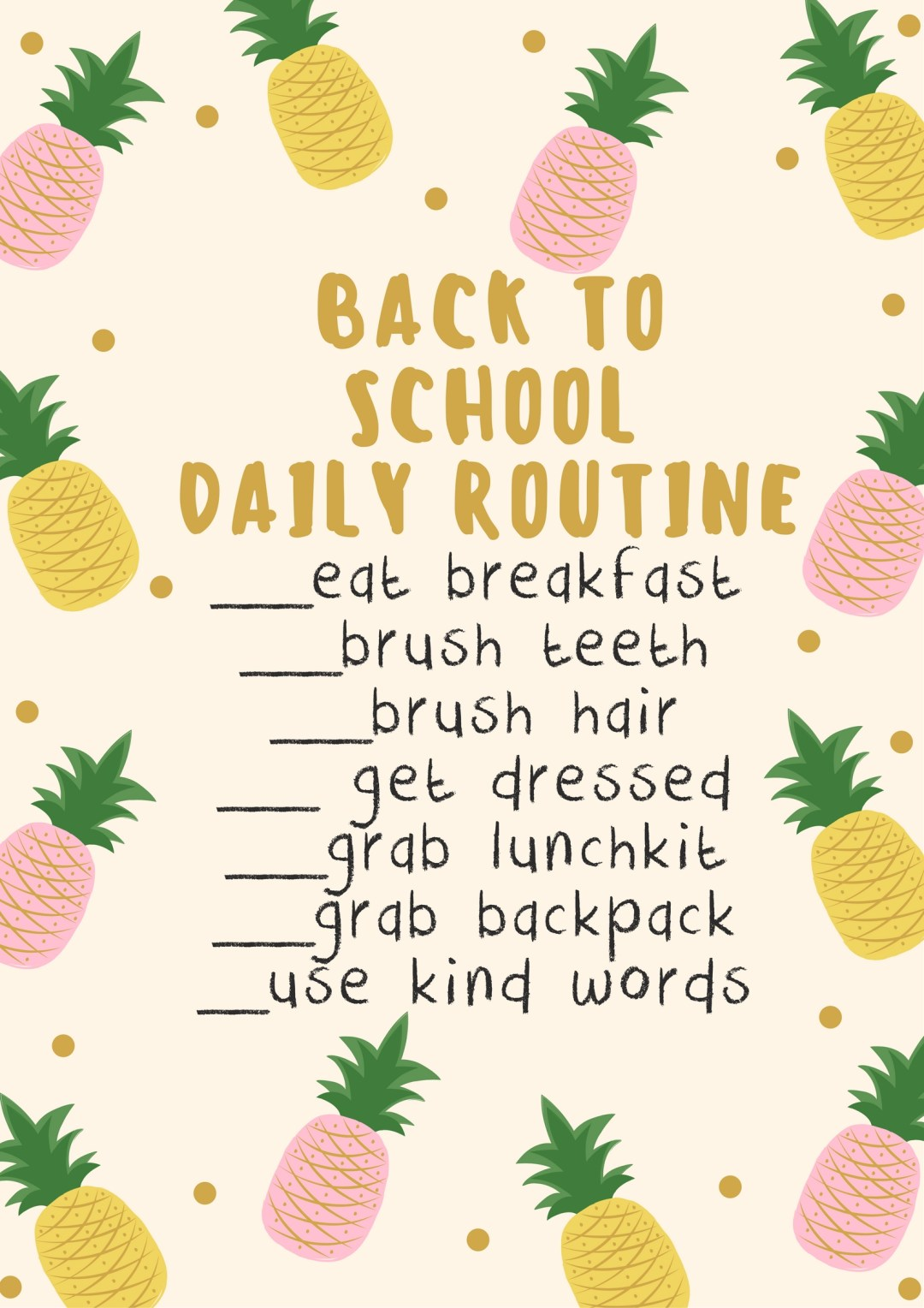 Back to school routine checklist