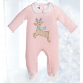Mud Pie Reindeer Pink Footed Sleeper